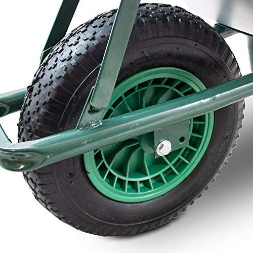 BITUXX® Schubkarre 100L Schubkarren Schiebkarre Bauschubkarre Verzinkt mit Luftreifen bis 250kg - 8