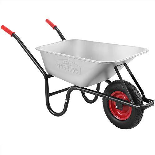 Monzana® Schubkarre 100 Liter | bis 250kg Belastbarkeit | Luftreifen mit Stahlfelge | verzinkt | stabile Ausführung mit Aufliegewanne | Bauschubkarre Gartenschubkarre