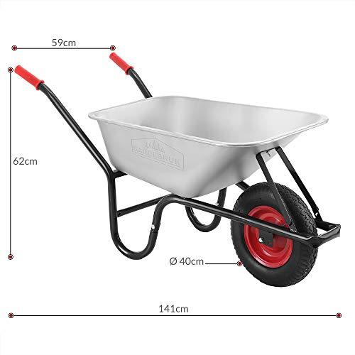Monzana® Schubkarre 100 Liter | bis 250kg Belastbarkeit | Luftreifen mit Stahlfelge | verzinkt | stabile Ausführung mit Aufliegewanne | Bauschubkarre Gartenschubkarre - 8