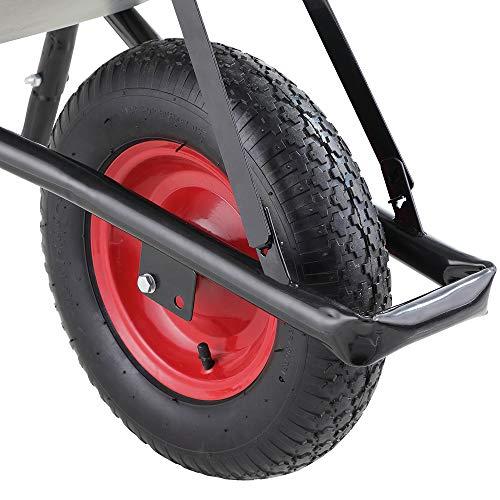 Monzana® Schubkarre 100 Liter | bis 250kg Belastbarkeit | Luftreifen mit Stahlfelge | verzinkt | stabile Ausführung mit Aufliegewanne | Bauschubkarre Gartenschubkarre - 6