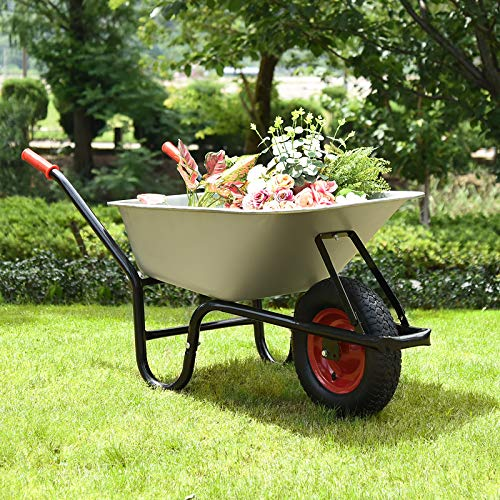 Monzana® Schubkarre 100 Liter | bis 250kg Belastbarkeit | Luftreifen mit Stahlfelge | verzinkt | stabile Ausführung mit Aufliegewanne | Bauschubkarre Gartenschubkarre - 9