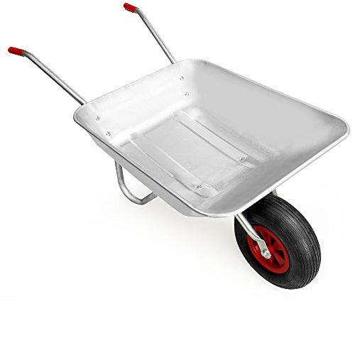 Deuba Monzana® Schubkarre 80L Bauschubkarre bis 200kg Gartenkarre | 200kg Belastbarkeit | verzinkter Stahlrohrrahmen