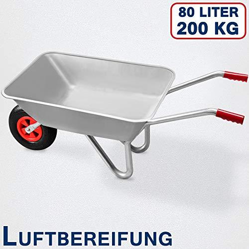 Deuba Monzana® Schubkarre 80L Bauschubkarre bis 200kg Gartenkarre | 200kg Belastbarkeit | verzinkter Stahlrohrrahmen - 3