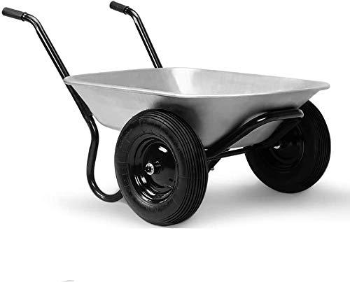 Deuba Monzana® Schubkarre 2Rad 150kg Bauschubkarre 100L Transportkarre Gartenkarre Baukarre | Stahlfelge | 2 Luftreifen | Autoventil | Kugellager