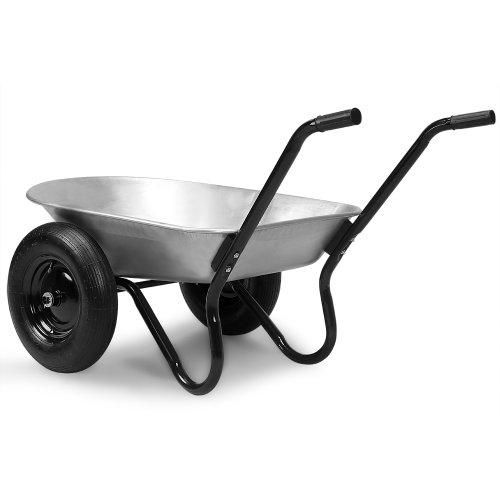 Deuba Monzana® Schubkarre 2Rad 150kg Bauschubkarre 100L Transportkarre Gartenkarre Baukarre | Stahlfelge | 2 Luftreifen | Autoventil | Kugellager - 4