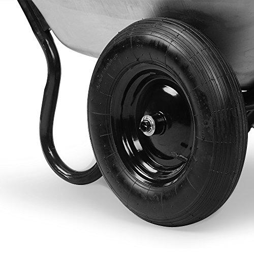 Deuba Monzana® Schubkarre 2Rad 150kg Bauschubkarre 100L Transportkarre Gartenkarre Baukarre | Stahlfelge | 2 Luftreifen | Autoventil | Kugellager - 7