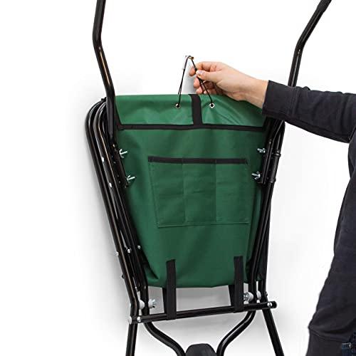 Relaxdays Schubkarre faltbar HBT 66 x 64 x 112 cm Faltschubkarre aus Stahl mit Korb aus stabilem Polyester ca. 56 l Fassungsvermögen platzsparende Gartenkarre zum Aufhängen belastbar bis 30 kg, grün - 2