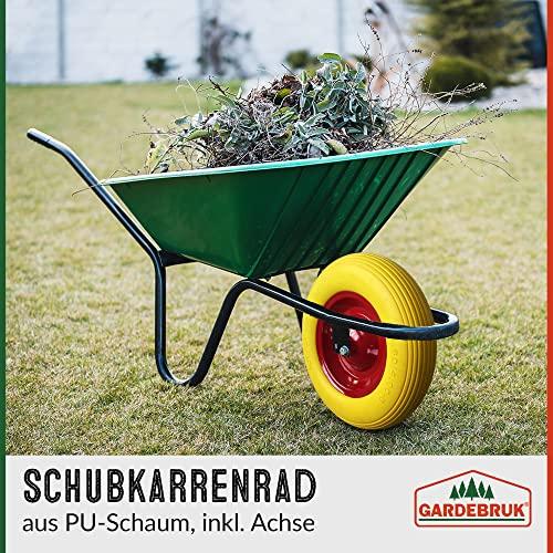 Deuba Schubkarrenrad Vollgummi PU 4.80/4.00-8 390 mm 200 kg + Achse – Reifen Ersatzrad - 2