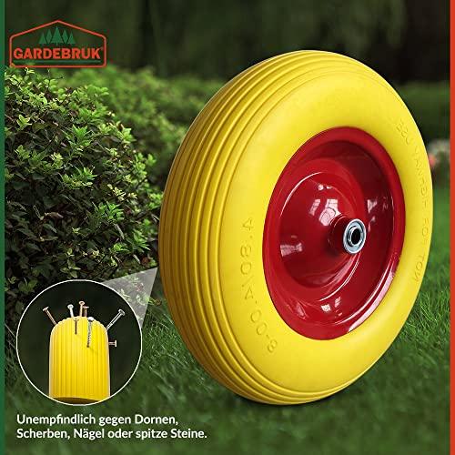 Deuba Schubkarrenrad Vollgummi PU 4.80/4.00-8 390 mm 200 kg + Achse – Reifen Ersatzrad - 4