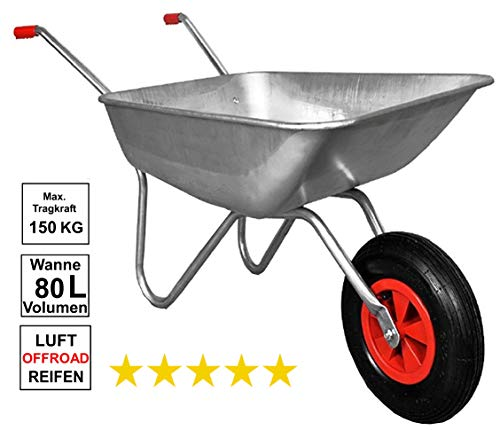 Schubkarre 100 kg, verzinkt, für Garten und Stall, 80 Liter, Luftreifen