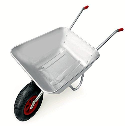 Schubkarre 100 kg, verzinkt, für Garten und Stall, 80 Liter, Luftreifen - 9