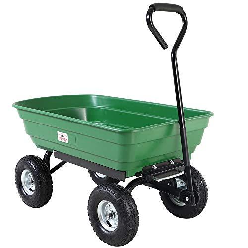 Deuba® Gartenkarre aus Kunststoff | Kippfunktion | Lenkachse | Luftreifen - Transportwagen Bollerwagen Muldenkipper Kippwagen Transportkarre Gartenwagen